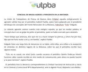 comunicado de UTPBA