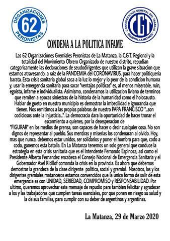 CONDENA A LA POLÍTICA INFAME
