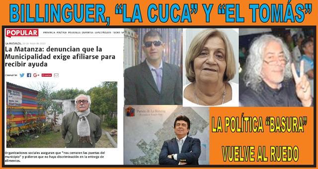 """BILLINGUER, """"LA CUCA"""" Y """"EL TOMÁS"""": LA POLÍTICA BASURA VUELVE AL RUEDO"""